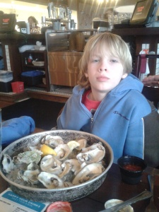 Dave eating oysters at Myrtle Beach
